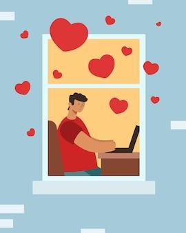 L'amour virtuel en ligne. gars avec un ordinateur portable, les cœurs volent autour