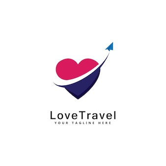 Amour voyage logo template design emblème vecteur design concept symbole créatif icône