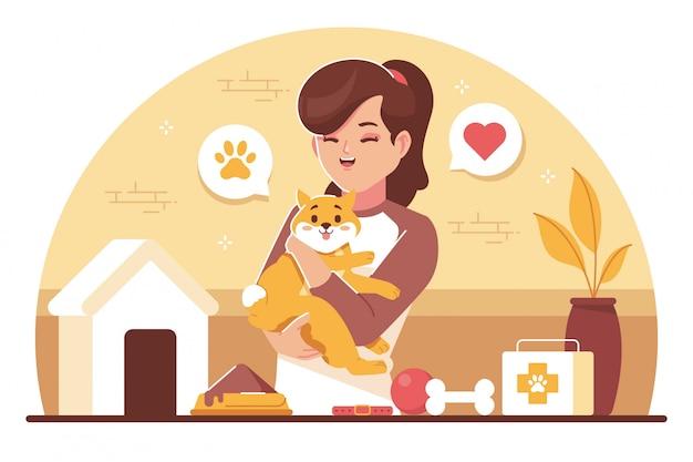 Amoureux des animaux de compagnie design plat illustration