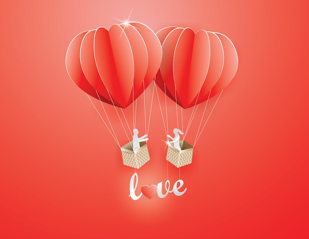 Amoureux en ballon en forme de coeur avec texte cueilli amour dans le ciel, papier craft style et illu