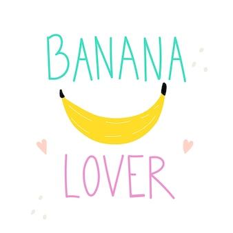 Amoureux de la banane lettrage texte avec bananefunny illustration vectorielle slogan de typographie pour enfants