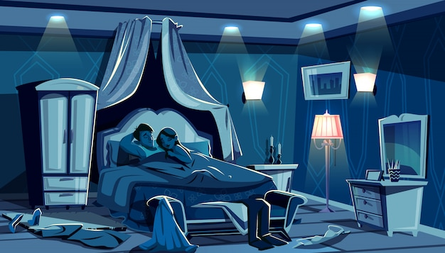 Les amoureux dorment au lit illustration de la chambre de nuit avec des vêtements dispersés dans la hâte de passion.