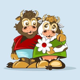 Les amoureux du taureau et de la vache sont dessinés dans un style d'animation.