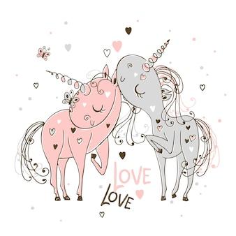 Amoureux les licornes le garçon et la fille