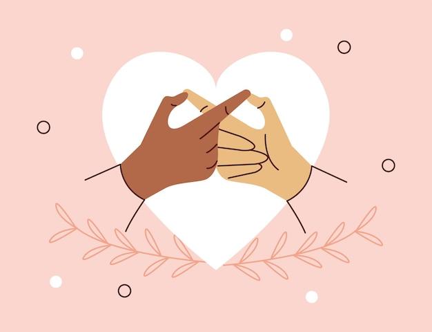 Amoureux les mains dans le coeur