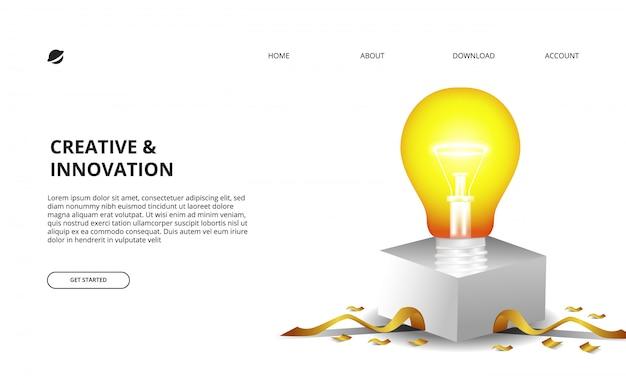 Ampoule 3d brillante avec boîte blanche et illustration de confettis dorés pour les entreprises et l'innovation