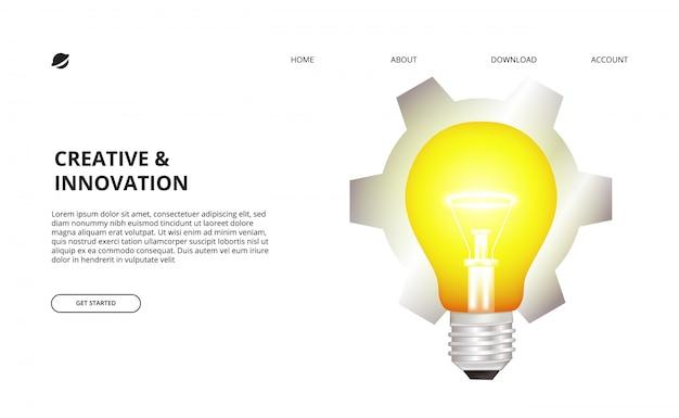 Ampoule 3d lueur et illustration d'engrenage pour les entreprises, créatif