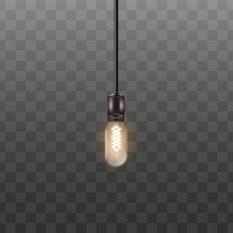 Une ampoule accrochée à un long fil dans un style réaliste