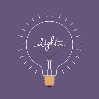 Ampoule brillante avec un mot lumière à l'intérieur