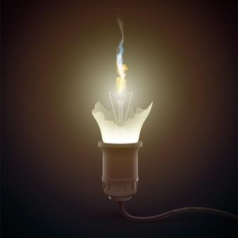 Ampoule cassée réaliste avec feu à l'intérieur des lumières tout autour