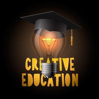 Ampoule de conception d'éducation créative avec illustration vectorielle de mortier