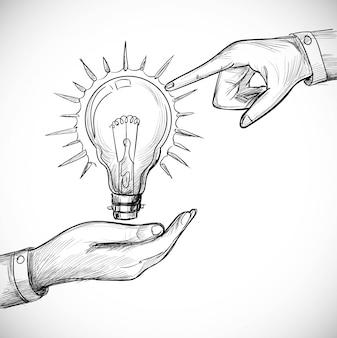 Ampoule de concepts d'innovation et de solution de nouvelle idée dessinée à la main