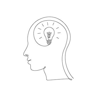 Ampoule continue de dessin d'une ligne à l'intérieur de la tête. concept d'idée créative, d'éducation et d'imagination dans un style linéaire. illustration vectorielle de griffonnage.