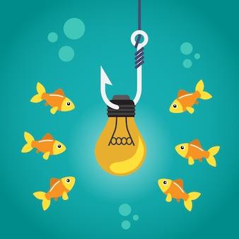 Ampoule sur crochet et poissons nageant autour