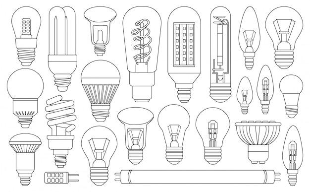Ampoule dans le style de ligne sur blanc
