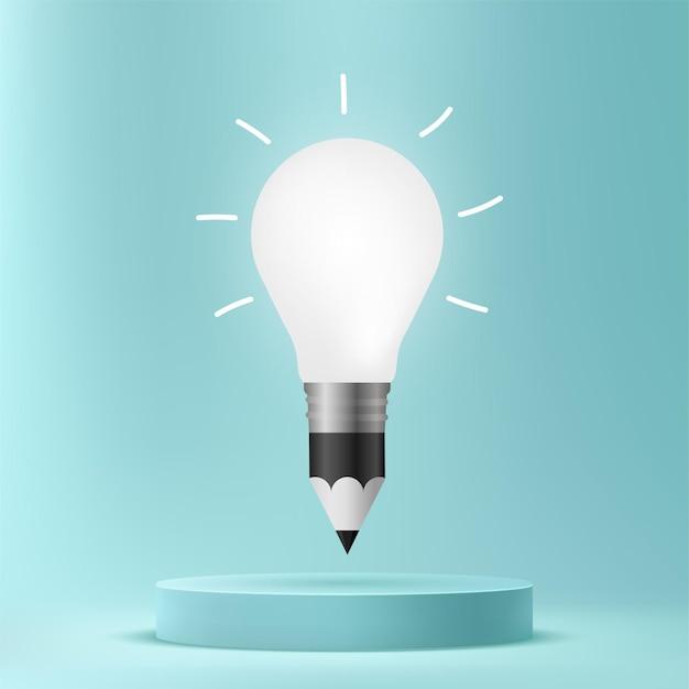 Ampoule de dessin au crayon sur le podium, fond de concept d'idées créatives