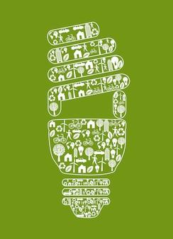 Ampoule d'écologie sur illustration vectorielle fond vert