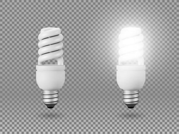 Ampoule à économie d'énergie isolée, objet sur un fond transparent, l'effet de la lumière et de la lueur. objet 3d réaliste, symbole de créativité et d'idées. concept d'entreprise ou de démarrage.