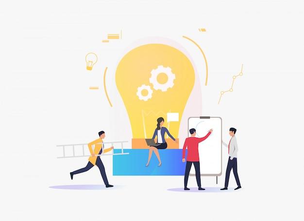 Ampoule électrique, personnes travaillant et donnant des conférences