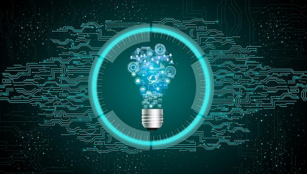 Ampoule sur fond de technologie abstraite bleue