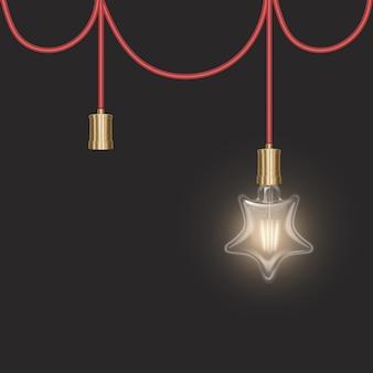Ampoule en forme d'étoile dans un style rétro sur substrat sombre ampoule rougeoyante dans un style réaliste