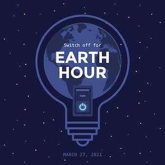 Ampoule heure de la terre design plat