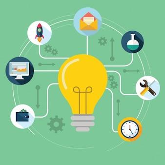 Ampoule avec des icônes d'affaires en design plat