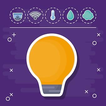 Ampoule Avec Des Icônes Connexes Maison Intelligente Vecteur Premium