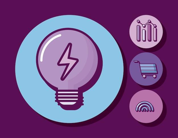 Ampoule avec des icônes de l'entreprise