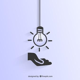 Ampoule et les icônes de la main
