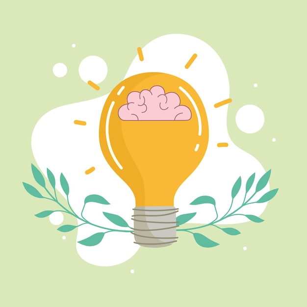 Ampoule avec idée de cerveau