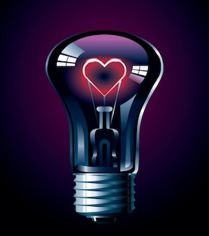 Ampoule avec illustration de coeur rougeoyant