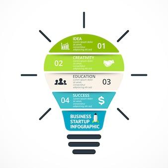 Ampoule infographie générer de nouvelles idées modèle vectoriel brainstorming