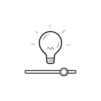 Ampoule avec interrupteur à curseur, paramètres de luminosité icône de griffonnage de contour dessiné à la main. paramètres de la lampe, concept de maison intelligente