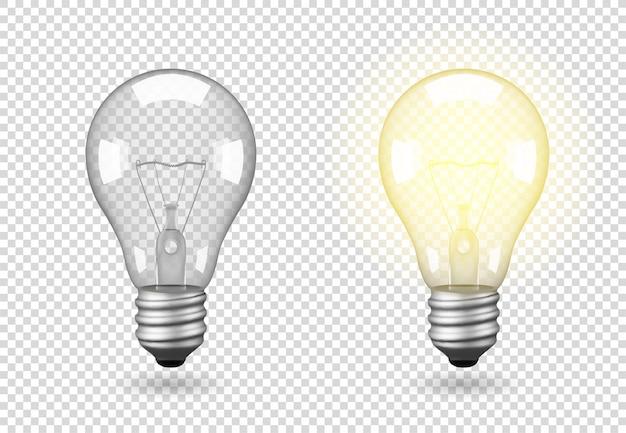 Ampoule isolée, objet sur fond transparent, effet de lumière et de lueur. objet 3d réaliste, symbole de créativité et d'idées. concept d'entreprise ou de démarrage.