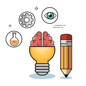 Ampoule jaune avec roue dentée de flacon de cerveau et un crayon
