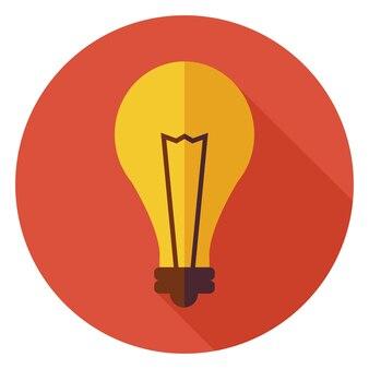 Ampoule de lampe d'idée créative de conception plate. illustration vectorielle d'affaires. icône de cercle d'ampoule de lampe colorée de style plat avec ombre portée. électricité énergie et puissance