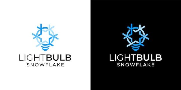 Ampoule de lampe avec modèle d'inspiration flocon de neige logo icône design