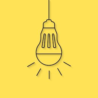 Ampoule led à ligne mince suspendue. concept de financement participatif, respectueux de l'environnement, watt, lumineux, invention, connaissance, iq, écologie. illustration vectorielle de style plat tendance logotype moderne design sur fond jaune