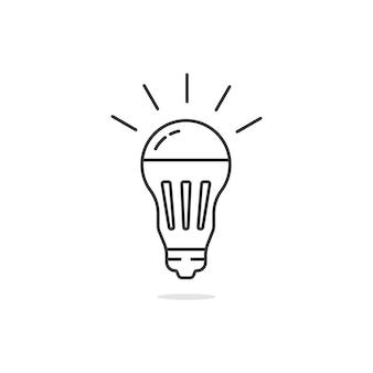 Ampoule led noire simple ligne mince. concept d'halogène, de découverte, de conservation écologique, de watt, de verre. plat, style linéaire, tendance, moderne, logotype, conception graphique, vecteur, illustration, blanc, fond