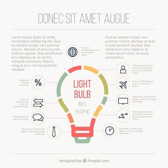 Ampoule modèle infographique dans un style plat