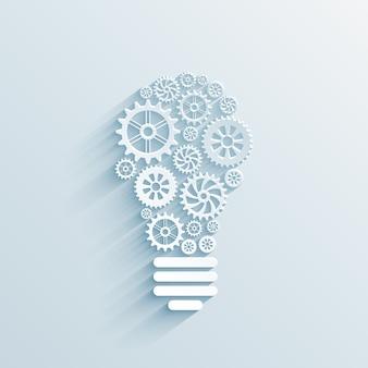 Ampoule de papier de vecteur avec engrenages et rouages, concept d'interaction commerciale