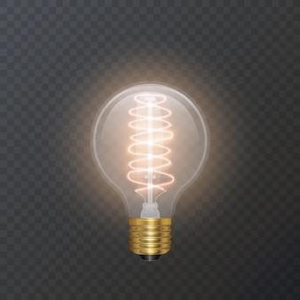 L'ampoule réaliste dans une lampe de style rétro a fière allure sur un substrat sombre