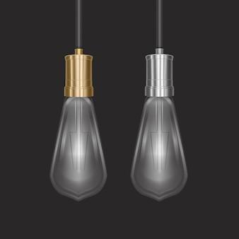 Ampoule Réaliste Dans Une Lampe De Style Rétro Vecteur Premium