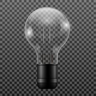 Ampoule réaliste isolé sur fond transparent, illustration vectorielle