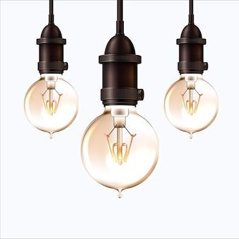 Ampoule rétro réaliste sur fond isolé. lampe vintage rougeoyante dans un style steam punk.