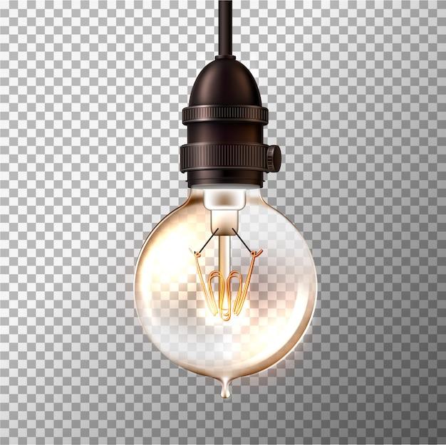 Ampoule rétro vecteur sur transparent