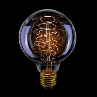 Ampoule rougeoyante antique réaliste edison. illustration vectorielle de peintures