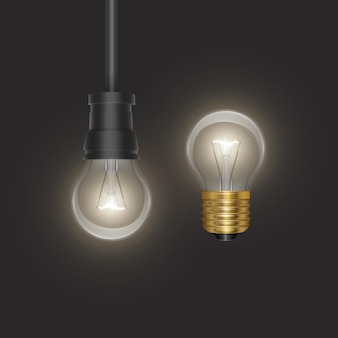 L'ampoule de style rétro sur substrat sombre ampoule rougeoyante dans un style réaliste