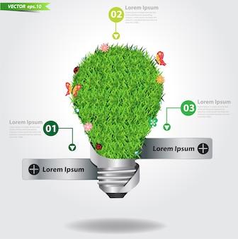Ampoule de vecteur avec un design créatif d'herbe